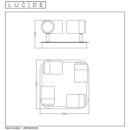 Lucide LENNERT - Spot mural de salle de bain - LED Dimb. - GU10 - 4x5W 3000K - IP44 - Noir