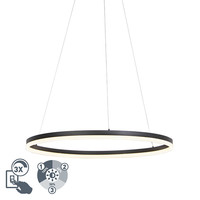 Design ring hanging lamp black 80cm incl. LED and dimmer - Anello 99149