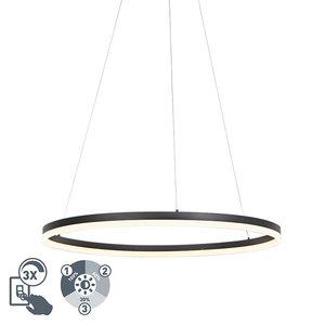 QAZQA Lampe suspendue design noire 80cm avec LED et dimmer - Anello 99149