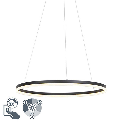 QAZQA Design ring hanglamp zwart 80cm incl. LED en dimmer - Anello 	99149
