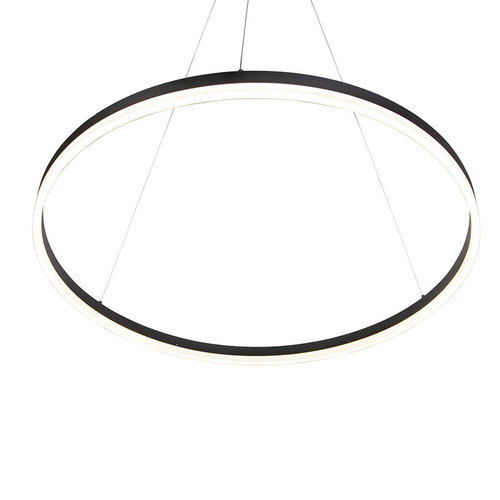 QAZQA Design ring hanging lamp black 80cm incl. LED and dimmer - Anello 99149