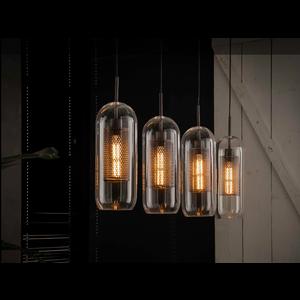 LioLights Hanglamp 4xØ15 glas/ geperforeerd staal