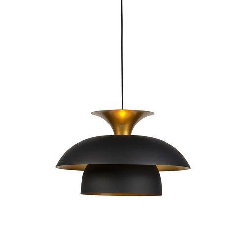 QAZQA Modern round hanging lamp black with gold 3-layer - Titus