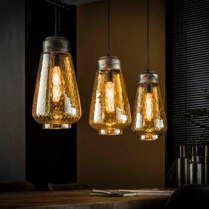LioLights Hanglamp 3L amber glas druppel