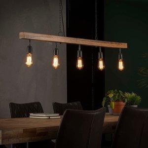 LioLights Vintage Hanglamp 5L houten balk