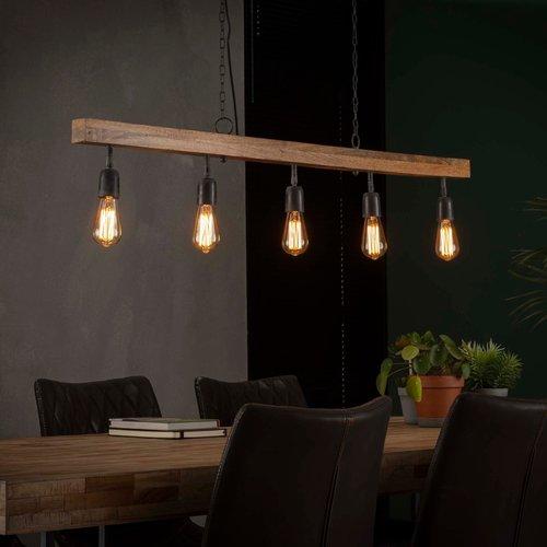 LioLights Vintage hanging lamp 5L wooden beam