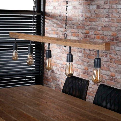 LioLights Lampe à suspension vintage 5L poutre en bois