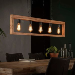 LioLights Vintage Hanglamp 5L modulo houten frame