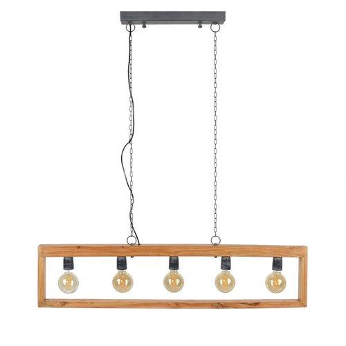 LioLights Vintage hanging lamp 5L modulo wooden frame
