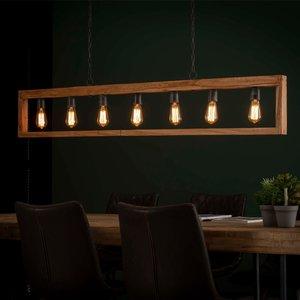 LioLights Vintage Hanglamp 7L modulo houten frame