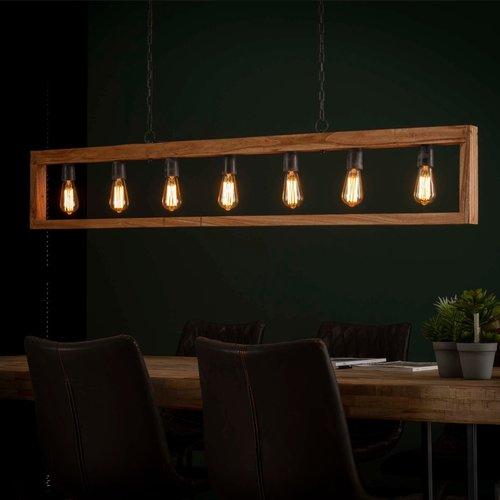LioLights Vintage hanging lamp 7L modulo wooden frame