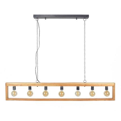 LioLights Lampe à suspension vintage 7L modulo cadre en bois