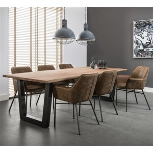 Dining room table 200 trunk 38mm black stainless steel