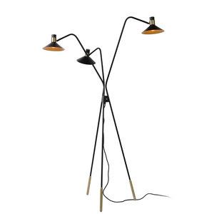 Lucide PEPIJN - Vloerlamp - E14 - 3 StepDim - Zwart - 05728/03/30