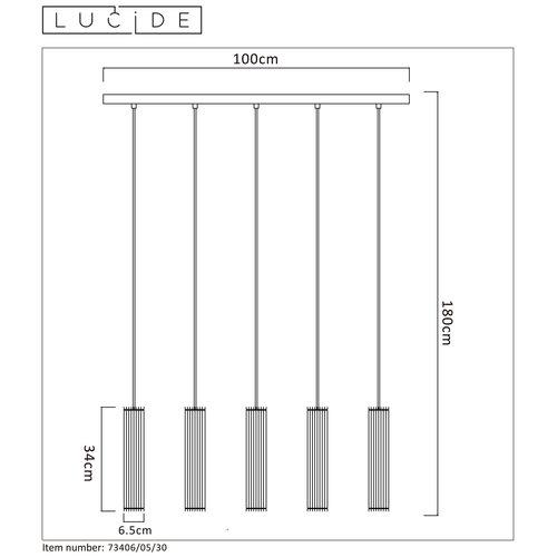 Lucide LIONEL - Suspension - Ø 6,5 cm - E27 - Noir - 73406/05/30
