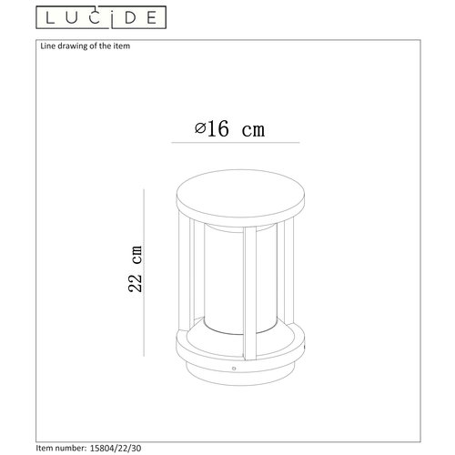Lucide CADIX - Pedestal lamp Outdoor - Ø 16 cm - E27 - IP65 - Black - 15804/22/30