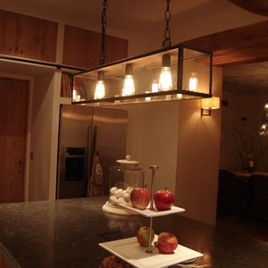 Authentage Rural hanging lamp VITRINE SUSPENSION LONG CHAIN 4L - Copy