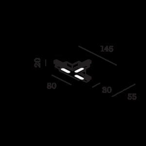 Wever & Ducré Track 1-Phase T-Connector Zwart