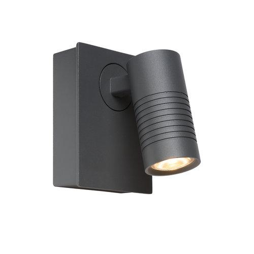 Lucide BRAN - Wandspot Buiten - LED Dimb. - 1x7W 2700K - IP54 - Antraciet - 27817/07/29