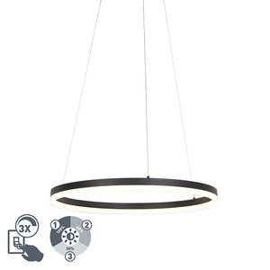 QAZQA Design ring hanging lamp black 60cm incl. LED and dimmer - Anello