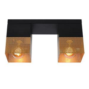 Lucide RENATE - Flush ceiling light - 2xE27 - Black - 21123/02/02