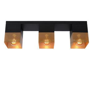 Lucide RENATE - Flush ceiling light - 3xE27 - Black - 21123/03/02