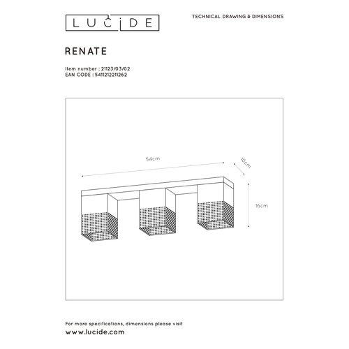 Lucide RENATE - Plafonnière - 3xE27 - Zwart - 21123/03/02