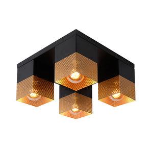 Lucide RENATE - Flush ceiling light - 4xE27 - Black - 21123/04/02