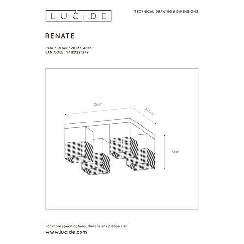 Lucide RENATE - Plafonnière - 4xE27 - Zwart - 21123/04/02