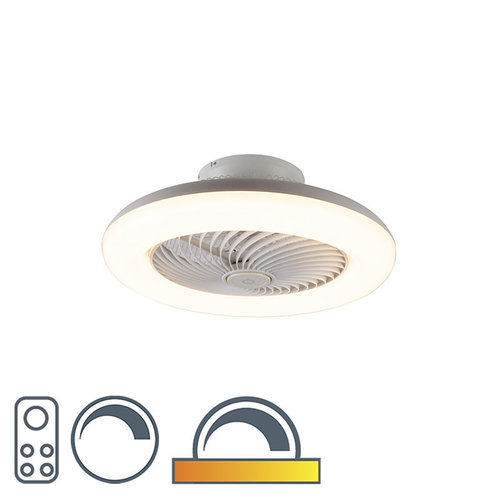 QAZQA Design ceiling fan white incl. LED dimmable - Clima