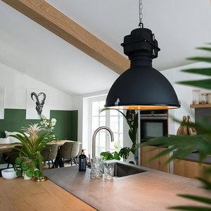 QAZQA Industriële hanglamp zwart 53 cm - Sicko - 91038