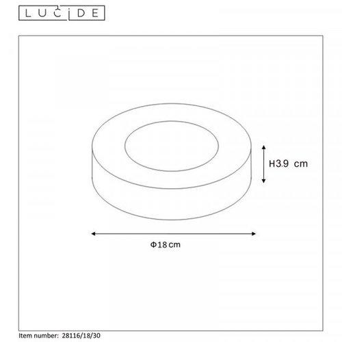 Lucide BRICE-LED - Ceiling light Bathroom - Ø 18 cm - LED Dim. - 1x11W 3000K - IP44 - White - 28116/18/31