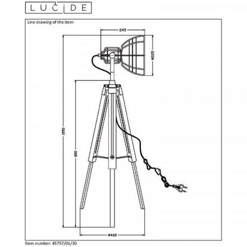 Lucide JOSHUA - Vloerlamp - Ø 42 cm - 1xE27 - Zwart - 45757/01/30