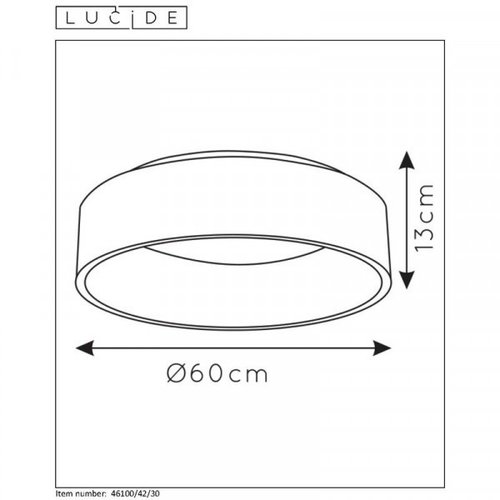 Lucide TALOWE LED - Plafonnier affleurant - Ø 60 cm - LED Dim. - 1x42W 3000K - Noir - 46100/42/30