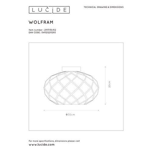 Lucide WOLFRAM - Plafonnière - Ø 30 cm - 1xE27 - Zwart - 21117/30/30