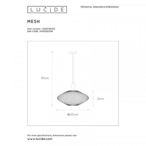 Lucide MESH - Suspension - Ø 45 cm - 1xE27 - Or mat / Laiton - 21423/45/02