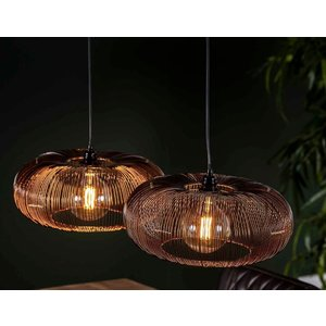 LioLights Hanging lamp 2x Ø43 disk wire copper twist