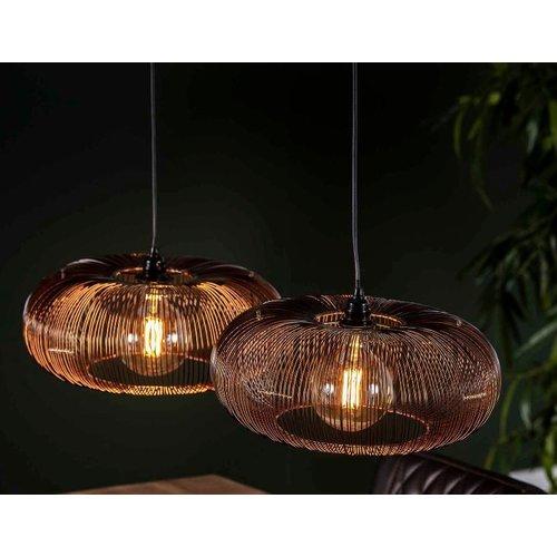 LioLights Hanglamp 2x Ø43 disk wire copper twist