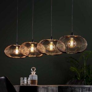 LioLights Hanglamp 4x Ø35 disk wire copper twist