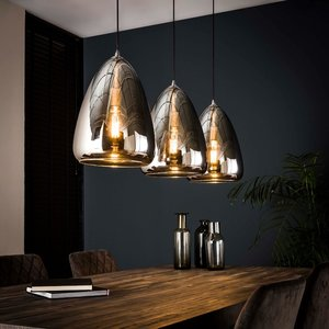 LioLights Hanging lamp 3L silver pearl glass