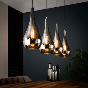 LioLights Hanging lamp 4L silver drop glass
