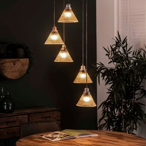 LioLights Hanging lamp 5L stepped clear glass ribbed