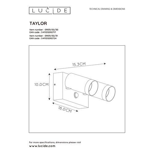 Lucide TAYLOR - Wall spotlight Outdoor - 2xGU10 - IP44 - White - 09831/02/31