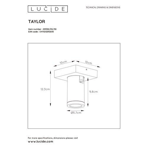 Lucide TAYLOR - Plafondspot Badkamer - LED Dim to warm - GU10 - 1x5W 2200K/3000K - IP44 - 09930/05/30