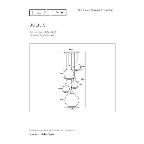 Lucide JULIUS - Pendant lamp - 5xE27 - Fumé - 34438/05/65