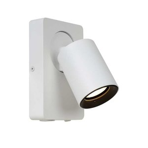 Lucide NIGEL - Wall spotlight - LED - GU10 - 1x5W 3000K - With USB charging point - White - 09929/06/31