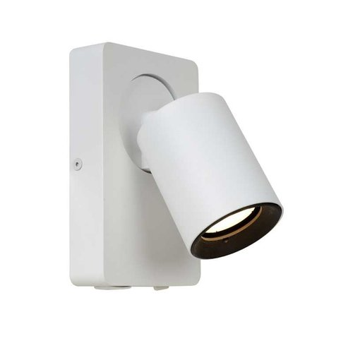 Lucide NIGEL - Spot mural - LED - GU10 - 1x5W 3000K - Point rechargement USB - Blanc - 09929/06/31