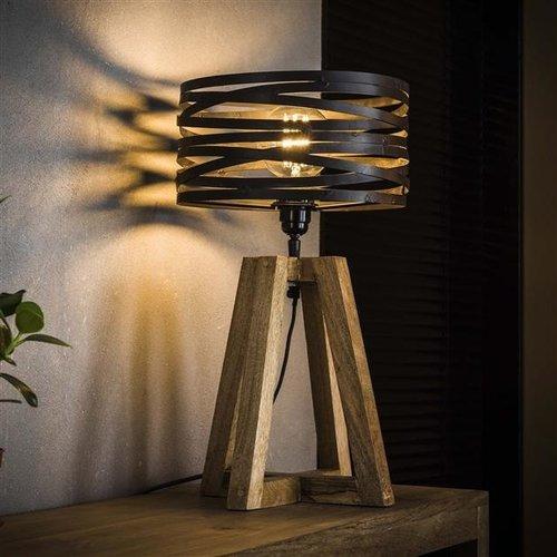 LioLights Table lamp twist wooden cross frame