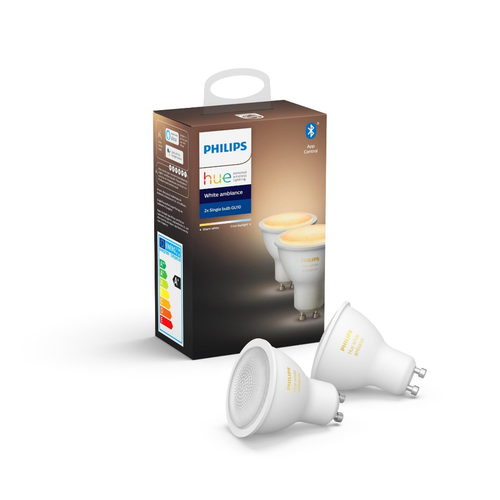 Philips Hue Lamps Bluetooth GU10 DUOPACK Warm to Cool White Light