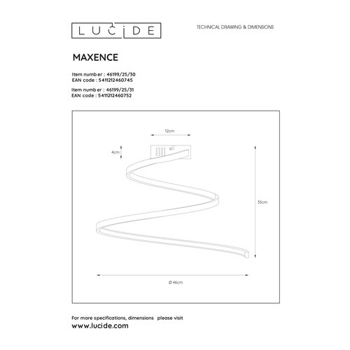 Lucide MAXENCE - Ceiling lamp - Ø 46 cm - LED Dim. - 1x24W 3000K - 3 StepDim - Black - 46199/25/30